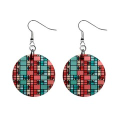 Red and green squares 1  Button Earrings by LalyLauraFLM