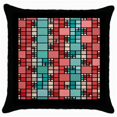 Red And Green Squares Throw Pillow Case (black) by LalyLauraFLM