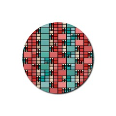Red And Green Squares Rubber Round Coaster (4 Pack) by LalyLauraFLM