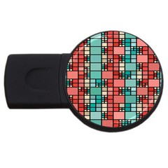 Red And Green Squares Usb Flash Drive Round (2 Gb) by LalyLauraFLM