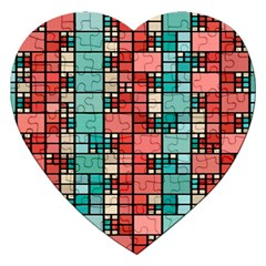 Red And Green Squares Jigsaw Puzzle (heart) by LalyLauraFLM