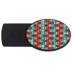 Red And Green Squares Usb Flash Drive Oval (4 Gb) by LalyLauraFLM