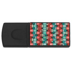 Red And Green Squares Usb Flash Drive Rectangular (4 Gb) by LalyLauraFLM