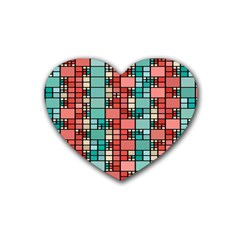 Red And Green Squares Rubber Coaster (heart) by LalyLauraFLM
