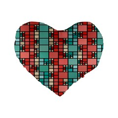 Red And Green Squares 16  Premium Heart Shape Cushion  by LalyLauraFLM