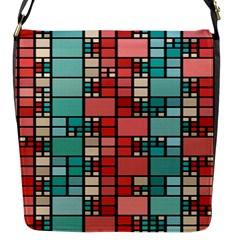 Red And Green Squares Flap Closure Messenger Bag (small) by LalyLauraFLM