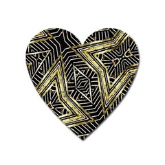 Geometric Tribal Golden Pattern Print Magnet (heart) by dflcprints