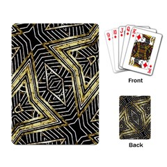 Geometric Tribal Golden Pattern Print Playing Cards Single Design by dflcprints