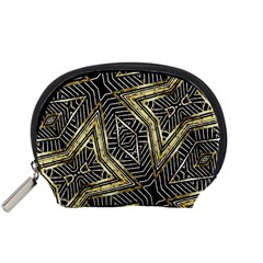 Geometric Tribal Golden Pattern Print Accessory Pouch (Small)