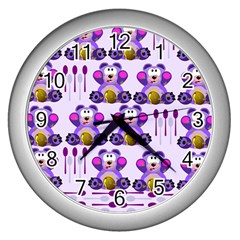 Fms Honey Bear With Spoons Wall Clock (silver) by FunWithFibro