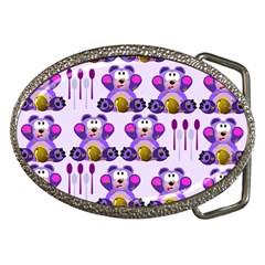 Fms Honey Bear With Spoons Belt Buckle (oval)