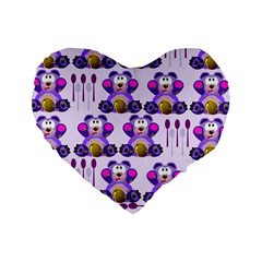 Fms Honey Bear With Spoons 16  Premium Heart Shape Cushion  by FunWithFibro