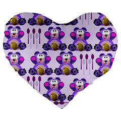 Fms Honey Bear With Spoons 19  Premium Heart Shape Cushion by FunWithFibro