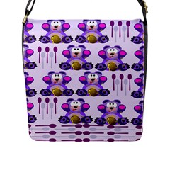 Fms Honey Bear With Spoons Flap Closure Messenger Bag (large) by FunWithFibro