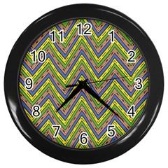 Zig Zag Pattern Wall Clock (black) by LalyLauraFLM