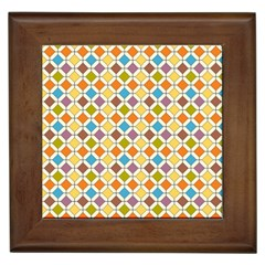 Colorful Rhombus Pattern Framed Tile by LalyLauraFLM