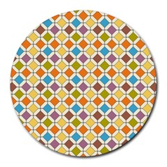 Colorful rhombus pattern Round Mousepad by LalyLauraFLM