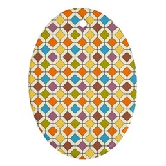 Colorful Rhombus Pattern Ornament (oval) by LalyLauraFLM