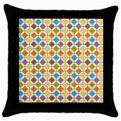 Colorful Rhombus Pattern Throw Pillow Case (black) by LalyLauraFLM