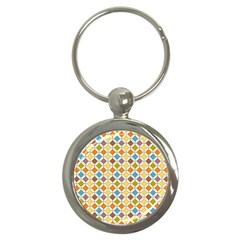 Colorful Rhombus Pattern Key Chain (round) by LalyLauraFLM