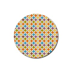 Colorful Rhombus Pattern Rubber Round Coaster (4 Pack) by LalyLauraFLM