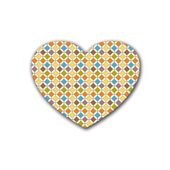 Colorful Rhombus Pattern Rubber Coaster (heart) by LalyLauraFLM