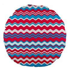 Waves Pattern 18  Premium Round Cushion  by LalyLauraFLM
