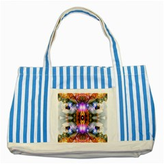 Connection Blue Striped Tote Bag by icarusismartdesigns