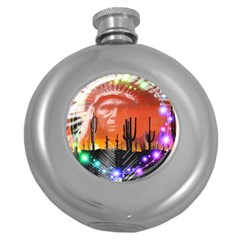 Ghost Dance Hip Flask (round) by icarusismartdesigns