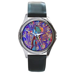 Peacock Round Leather Watch (silver Rim) by icarusismartdesigns