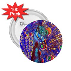 Peacock 2 25  Button (100 Pack) by icarusismartdesigns