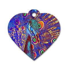 Peacock Dog Tag Heart (two Sided) by icarusismartdesigns