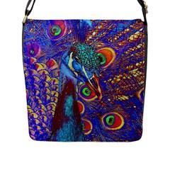 Peacock Flap Closure Messenger Bag (large) by icarusismartdesigns