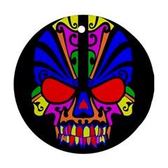 Skull In Colour Round Ornament by icarusismartdesigns