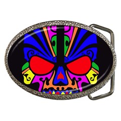 Skull In Colour Belt Buckle (oval)
