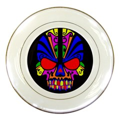 Skull In Colour Porcelain Display Plate by icarusismartdesigns