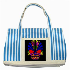 Skull In Colour Blue Striped Tote Bag by icarusismartdesigns