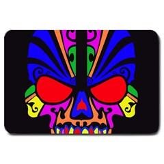 Skull In Colour Large Door Mat by icarusismartdesigns