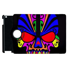 Skull In Colour Apple Ipad 3/4 Flip 360 Case by icarusismartdesigns