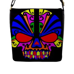 Skull In Colour Flap Closure Messenger Bag (large) by icarusismartdesigns