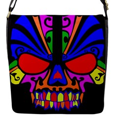 Skull In Colour Flap Closure Messenger Bag (small) by icarusismartdesigns