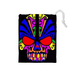 Skull In Colour Drawstring Pouch (medium) by icarusismartdesigns