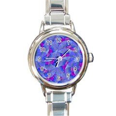 Abstract Deco Digital Art Pattern Round Italian Charm Watch by dflcprints