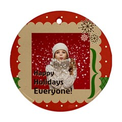 Merry Christmas By Xmas   Round Ornament (two Sides)   J0nbrn4djpcq   Www Artscow Com Back
