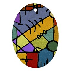 Multicolored Tribal Pattern Print Oval Ornament by dflcprints