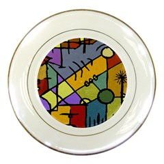 Multicolored Tribal Pattern Print Porcelain Display Plate by dflcprints
