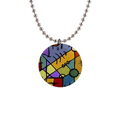 Multicolored Tribal Pattern Print Button Necklace by dflcprints