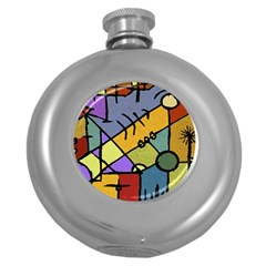 Multicolored Tribal Pattern Print Hip Flask (round) by dflcprints