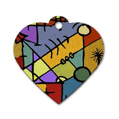 Multicolored Tribal Pattern Print Dog Tag Heart (one Sided)  by dflcprints
