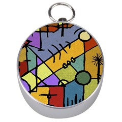 Multicolored Tribal Pattern Print Silver Compass by dflcprints